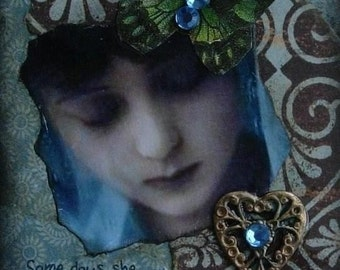 DEEP WITHIN altered art vintage woman collage therapy survivor healing recovery ACeO AtC PRINT