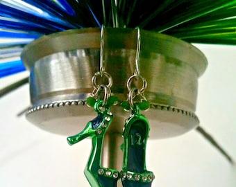 Seahawks Womens Jewelry, Football Jewelry, Seahawks Jewelry, Seahawk Moms Jewelry, Seahawk Heels Bling Earrings, Gifts for Football Fans