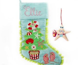 Personalised Beach Tree Stocking and Decoration Pack
