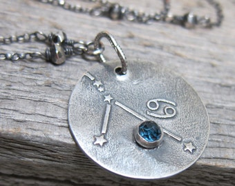 Constellation Cancer Necklace  ... fine silver zodiac sign star constellation with silver pyrite and london blue topaz