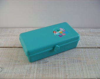 Vintage Caboodle ~ Small Teal Blue / Green Travel Case ~ Makeup Cosmetic Jewelry Organizer ~ 80's Teen Girl Plastic Storage Box (B16)