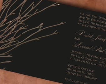 Rustic Wedding Invitation Suite with Bare Tree Branches, Winter Wonderland Blue and White