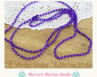 Purple necklace 70 cm ball 2.4 mm for jewelry creations