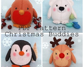 Christmas Buddies pdf pattern, instant download, sewing pattern, diy, sew your own, robin, polar bear, rudolph, plushy, sew sweet