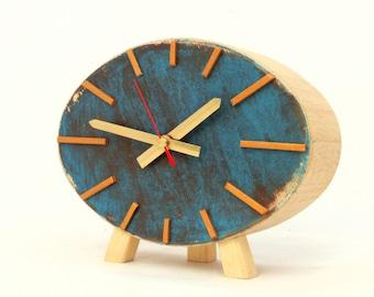 Table Clock, Wood Clock,  Ellipse clock, Turquoise  Brown Gold, Vintage style, Desk Gold clock, Unique gift home decor , Autumn trends