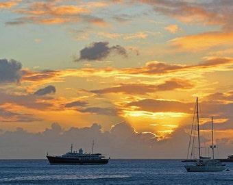 Simpson Bay Sunset, Saint Martin, St Martin, Sint maarten, caribbean photography, caribbean art, caribbean print, caribbean decor