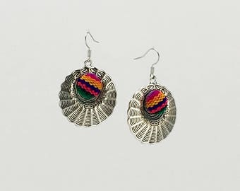 Colorful sarape manta inca Handcrafted woven textile dangle earrings