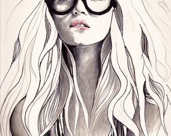 """Fashion Illustration, Black And White Print, Black And White Wall Art, Pen And Ink Drawing, Fashion Print, , """"Can't Remember His Name"""""""