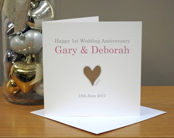 Personalised 1st Anniversary Card - Paper Anniversary Card - First Anniversary Card - Heart - For Husband/Wife - For Couple - For Him/Her