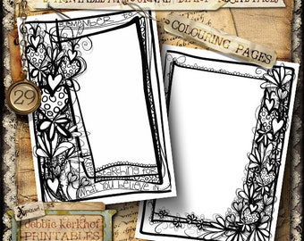 Printable Coloring Journal Page, Diary pages, Journal Pages, Junk Journal,