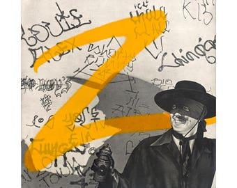 Zorro 12x12 Fine Art Print, Pop Culture Art, Humorous Graffiti Art