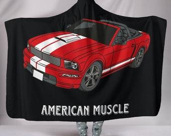 American Muscle Ford Mustang Hooded Blanket