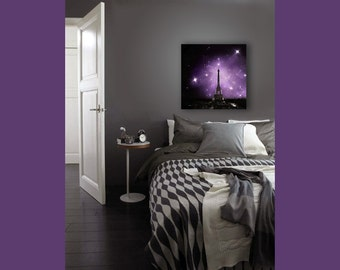 Ultra Violet Paris Canvas, Eiffel Tower Print on Canvas, Large Canvas Wall Art, Black, Purple, Starry Night Sky