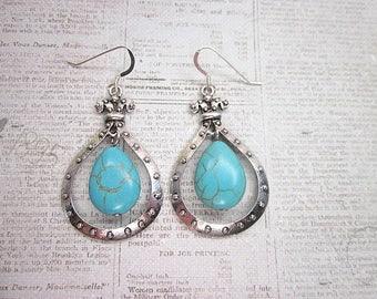 Turquoise Bead Drop Earrings -- Teal Blue Bead Drops -- Faux Turquoise Earrings -- Teal Teardrop Earrings -- Magnesite Bead Earrings --Drops
