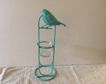 Aqua Turquoise Bird Candleholder - Metal Tealight - Bird Home Decor - French Cottage Farmhouse - Shabby Chic - Patio -  Modern - Distressed