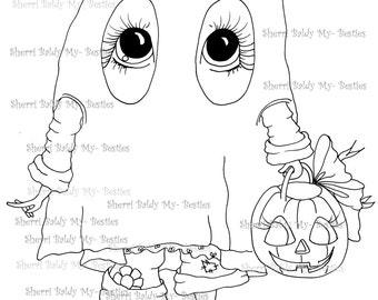 INSTANT DOWNLOAD Digital Digi Stamps Big Eye Big Head Dolls Digi img014 By Sherri Baldy