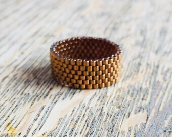 Modern bronze beaded ring, bronze ring, antique gold ring, bronze bead ring, seed bead ring,  bronze band, antique gold band, modern ring