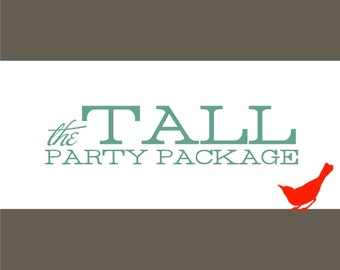 PARTY PACKAGE - The Tall Party Package All-In-One DIY Invitations and Party Favor Bundle - 103040816