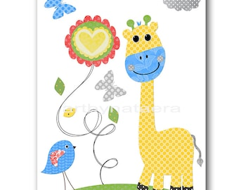 Blue Yellow Green Gray Giraffe Nursery Art Print Baby Boy Nursery Print Kids Wall Art Childrens Art Print Kids Art Kids Room Decor