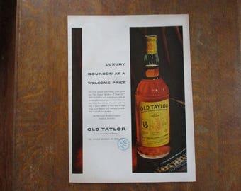 1954 Original Vintage Old Taylor Kentucky Straight Bourbon Whiskey ad
