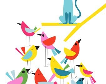 Cat Print - Meow - Nursery Animal Wall Art, Minimal Cat Wall Art, Colourful Nursery Decor, Pet Print, bird print