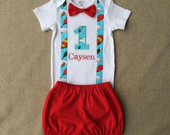 """Dr. Seuss """"Oh, The Places You'll Go"""" First Birthday Outfit, Oh the Places you'll go first birthday bodysuit and diaper cover"""