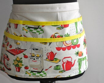 50's Kitchen apron, Vintage Kitchen Teacher Apron, Utility Apron, Teacher Apron, Women's Vendor Apron, Vintage kitchen money apron, Teachers