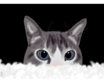 Cat Greeting Card, Blank, Bailey Hiding Design No A6035