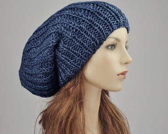 Hand knit hat Oversized Chunky Wool Hat slouchy blue hat- ready to ship