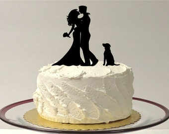 MADE In USA, DOG + Bride + Groom Silhouette Wedding Cake Topper Silhouette Cake Topper with Pet Dog Family of 3 Hair Down Silhouette