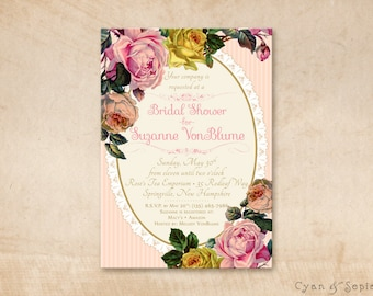Blush Roses - Printable 5x7 Bridal Wedding Shower Invitation - Vintage Floral Victorian Lace Stripes - Pink Peach Yellow Gold Cream Ivory