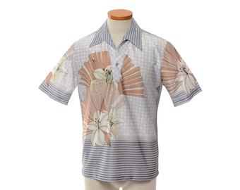 Vintage 70s Disco Shirt, 1970s Shirt, Multicolor Shirt, Mod Lilies Floral and Stripe Graphic Pimp Club Pullover Top / Mens M