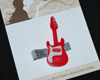 Red Hot Rock Star Guitar Hair Clip - Buy 3 Items, Get 1 Free