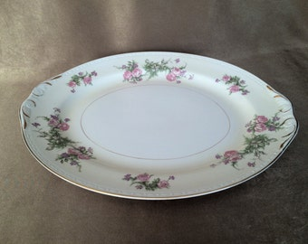 Homer Laughlin, Oval platter, Shabby Chic, Garden Cottage, Eggshell Georgian, Heather Rose Pattern, Floral Rose Pattern, Vintage China