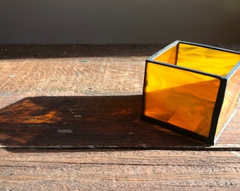 Stained Glass Candle Holder, Amber, Orange