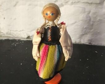 Vintage Wooden Polish Peg Doll Traditional Dress