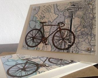 24-Pack Seattle Fahrrad und Karte - Gocco Siebdruck Grußkarten