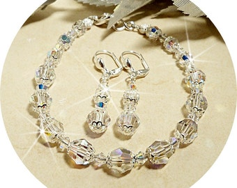 Crystal Jewelry, Bridal Crystal Jewelry, Bracelet Earrings Set, Crystal Bracelet and Earrings, Bridal Accessories, Bridesmaid Gift