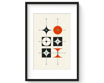 AERIAL no.1 - Mid Century Modern Danish Modern Abstract Eames Curtis Jere Style Print