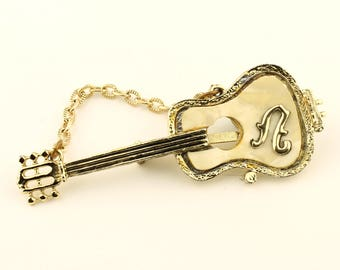Vintage Gold Guitar Brooch, Mother of Pearl, Gold Pin Jewelry