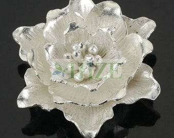 HIZE SF183 Thai Karen Hill Tribe Silver Blooming Peony Flower Focal Pendant 32mm