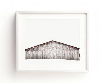 """minimalist landscape wall art, large landscape wall art, farmhouse wall art, farmhouse art prints, rustic wall art, barn - """"Winter Barn"""""""