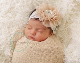 Champagne lace headband, newborn lace headbands, infant lace headband, girl lace headband, baby headband, girls headband, lace headbands
