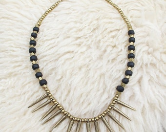 Indian Tribal Necklace, Ethnic Necklace, Spike Necklace, Brass Necklace, Tribal Necklace,Tribal Jewelry,Ethnic Jewelry