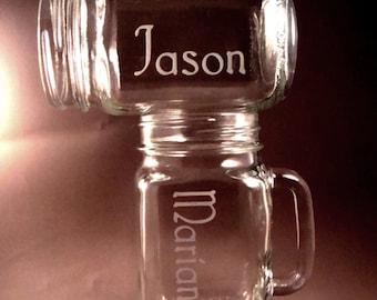 Etched Personalized Mason Jar Mugs – Set of 9 - Wedding Party – Wedding Toasting Glasses - Bride and Groom Gift - Mason Jars – Mason Mug