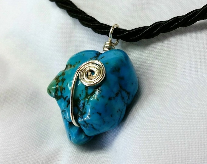 Chunky Turquoise Magnesite Wire Wrapped Pendant