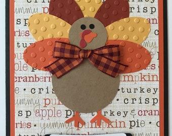 "Handmade ""Turkey"" Thanksgiving Card, A2, Gobble, Happy Thanksgiving, Turkey"