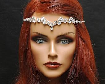 Thin Wedding Headband Gold Bridal Headpiece, Reign Wedding Headpiece, beach wedding Headpiece, Bridal Crown Hair Vine, Wedding Forehead Band