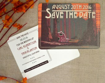 Redwood Forest with Barn Wedding Save the Date Postcard // Sequoia Forest Craftsman Landscape Save the Date
