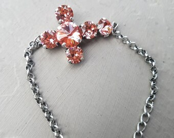 Rose Peach Cross Bracelet